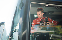 Bauke Mollema (NED/Trek-Segafredo) checking the roadbook on the teambus during the 100th Giro d'Italia 2017