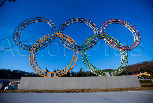 19.12.2013 Sochi, Russia. The Olympic Rings are seen in front of the main building of the airport in Sochi, Russia. Sochi will host the Winter Olympic Games from 07 to 23 February 2014.