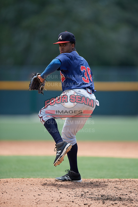 GCL Braves relief pitcher Jhoniel Sepulveda (38) delivers a pitch during a game against the GCL Pirates on July 26, 2017 at Pirate City in Bradenton, Florida.  GCL Braves defeated the GCL Pirates 12-5.  (Mike Janes/Four Seam Images)