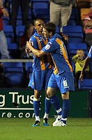 Pictured L-R: Mark Wright of Shrewsbury celebrating his goal with team mate Shane Cansdell-Sherriff. Tuesday 23 August 2011<br />