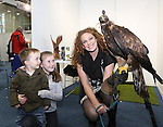 With Compliments.  Attending the Fly Shannon Holiday Show in the UL Sports Arena at the weekend were Noah Carey(2), Newcastlewest, Katie Lyons(10), Adare and Susan Kirwin, Adare Country Persuits with a Golden Eagle named Caelin.<br />