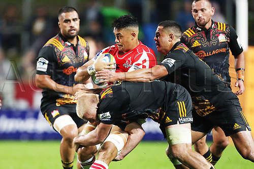 April 29th 2017, FMG Stadium Waikato, Hamilton, New Zealand; Super Rugby; Chiefs versus Sunwolves;  Sunwolves reserve Rahboni Warren Vosayaco is tackled during the Super Rugby rugby match