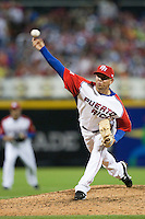 11 March 2009: #52 Rabell Saul Rivera of Puerto Rico pitches against the Netherlands during the 2009 World Baseball Classic Pool D game 6 at Hiram Bithorn Stadium in San Juan, Puerto Rico. Puerto Rico wins 5-0 over the Netherlands