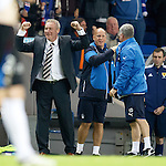 Ally McCoist and his backroom team celebrate as the ball hits the back of the net