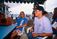 Wendy Botha (SAF) and Kelly Slater (USA) meet the press at Haleiwa. When Slater claimed  the 1992 World Surfing Champion he became the youngest ever World Champion..Photo: www.joliphotos.com
