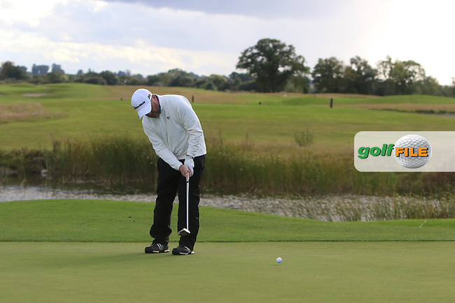 Damien McGrane (IRL) on the 18th green during the final round of the 106th Irish PGA Championship at Moyvalley Hotel &amp; Golf Resort, Moyvalley, Co. Kildare.  25/09/2016.<br /> Picture: Golffile | Thos Caffrey<br /> <br /> <br /> All photo usage must carry mandatory copyright credit     (&copy; Golffile | Thos Caffrey)