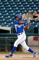 Cristian Cano #17 of the AZL Royals bats against the AZL Rangers at Surprise Stadium on July 15, 2013 in Surprise, Arizona. AZL Rangers defeated the AZL Royals, 3-2. (Larry Goren/Four Seam Images)
