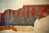 Twelfth century restored Romanesque Frescoes depicting mythical animals. The church of Saint Joan of Boi, Val de Boi, Alta Ribagorca, Pyranese, Spain. A UNESCO World Heritage Site