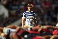 Rhys Priestland of Bath Rugby watches a scrum. Gallagher Premiership match, between Bristol Bears and Bath Rugby on August 31, 2018 at Ashton Gate Stadium in Bristol, England. Photo by: Patrick Khachfe / Onside Images