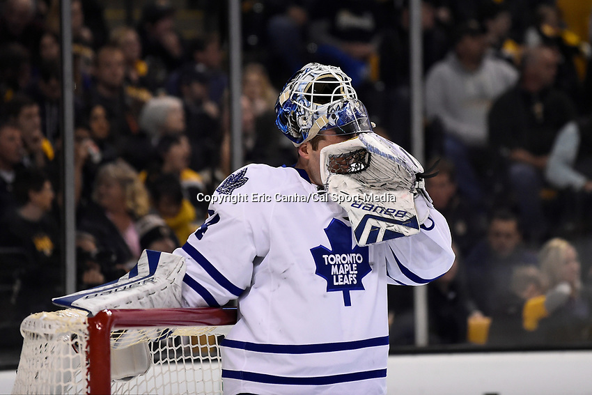 Saturday, November 21, 2015: Toronto Maple Leafs goalie James Reimer (34) wipes his face during a break in the action at the National Hockey League game between the Toronto Maple Leafs and the Boston Bruins held at TD Garden, in Boston, Massachusetts. The Bruins defeat the Maple Leafs 2-0 in regulation time. Eric Canha/CSM