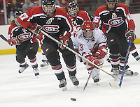Five-foot Badger sophomore Erika Lawler skates past St. Cloud State in Saturday's UW victory