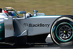 Mercedes driver Lewis Hamilton drives during a practice session at the Circuit de Catalunya on May 9, 2014. <br /> PHOTOCALL3000/PD