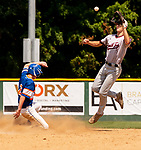 WATERBURY,  CT-072519JS12-- Wolcott's Jacob Daniels (2) safely steals second as South Troy's Matt Tiberia (5) has to go up for the throw during their Mickey Mantle World Series game Thursday at Municipal Stadium in Waterbury. <br />  Jim Shannon Republican-American