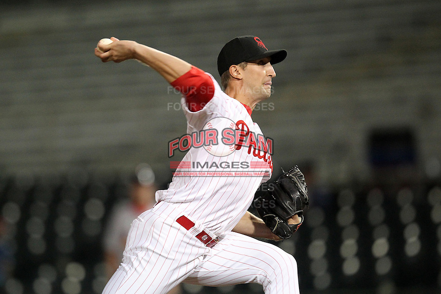Scottsdale Scorpions pitcher Colby Shreve #41 during an Arizona Fall League game against the Peoria Javelinas at Scottsdale Stadium on November 1, 2011 in Scottsdale, Arizona.  Scottsdale defeated Peoria 6-4.  (Mike Janes/Four Seam Images)