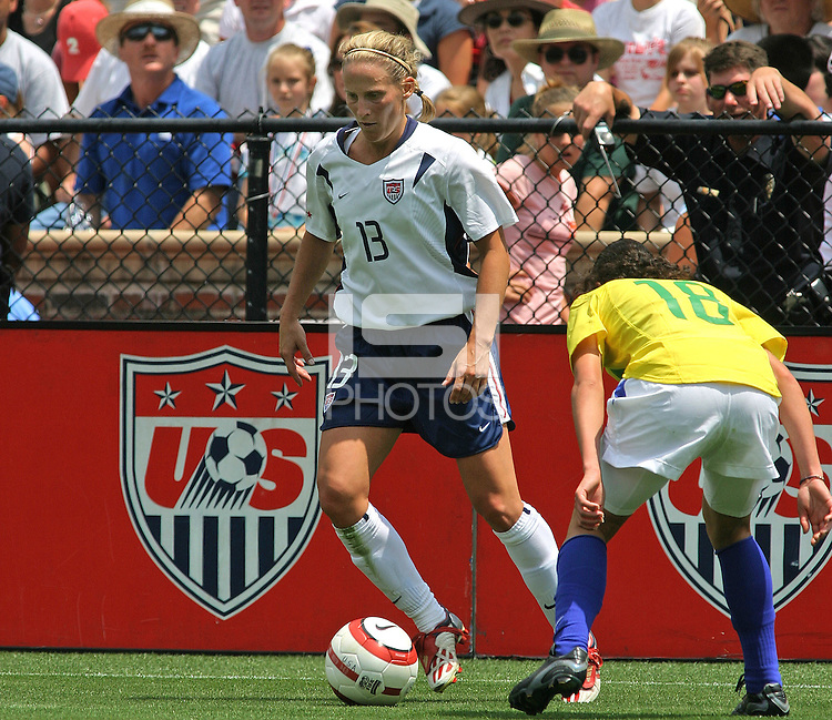 Kristine Lilly v Janaina.US Women's National Team vs Brazil at Legion Field in Birmingham, Alabama.