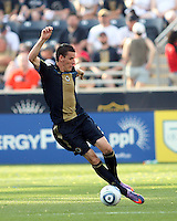 Sebastien Le Toux #9 of the Philadelphia Union picks up a pass against the Seattle Sounders FC during the first MLS match at PPL stadium in Chester, PA. on June 27 2010. Union won 3-1.