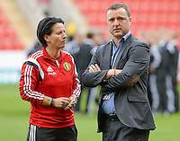20160408 - ROTHERHAM , ENGLAND : Belgian assistant coach Tamara Cassimon and head coach Ives Serneels pictured during the female soccer game between England and The Belgian Red Flames - Belgium , the fourth game in the qualification for the European Championship in The Netherlands 2017  , Friday 8 th April 2016 at AESSEAL New York Stadium in Rotherham , England . PHOTO DAVID CATRY