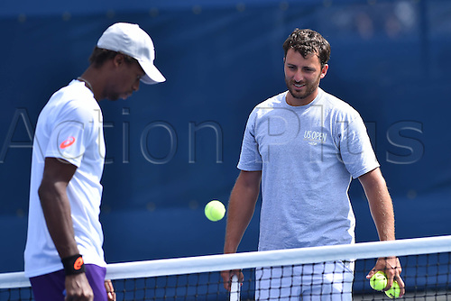 03.09.2014. New York, NY, USA. US Open Tennis tournament grand slam.  Gael Monfils practicing with Clement Reix, Corentin Ventre and Nicolas Lamperin