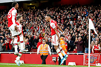 GOAL - Pierre-Emerick Aubameyang of Arsenal puts the hosts in front during the Premier League match between Arsenal and Aston Villa at the Emirates Stadium, London, England on 22 September 2019. Photo by Carlton Myrie / PRiME Media Images.