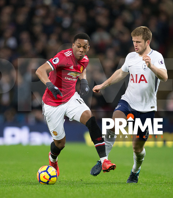 Anthony Martial of Man Utd & Eric Dier of Spurs during the Premier League match between Tottenham Hotspur and Manchester United at Wembley Stadium, London, England on 31 January 2018. Photo by Andy Rowland.