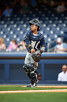 New Orleans Baby Cakes catcher Ramon Cabrera (38) throws the ball back to the pitcher during a game against the Nashville Sounds on April 30, 2017 at First Tennessee Park in Nashville, Tennessee.  The game was postponed due to inclement weather in the fourth inning.  (Mike Janes/Four Seam Images)