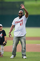 Dr. Richard R. Rolle, Jr. prepares to throw out a ceremonial first pitch prior to the South Atlantic League game between the West Virginia Power and the Kannapolis Intimidators at Kannapolis Intimidators Stadium on June 17, 2017 in Kannapolis, North Carolina.  The Power defeated the Intimidators 6-1.  (Brian Westerholt/Four Seam Images)