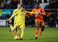 Fleetwood Town's Dean Marney shoots at goal under pressure from Luton Town's Pelly Ruddock<br /> <br /> Photographer Andrew Kearns/CameraSport<br /> <br /> The EFL Sky Bet League One - Luton Town v Fleetwood Town - Saturday 8th December 2018 - Kenilworth Road - Luton<br /> <br /> World Copyright &copy; 2018 CameraSport. All rights reserved. 43 Linden Ave. Countesthorpe. Leicester. England. LE8 5PG - Tel: +44 (0) 116 277 4147 - admin@camerasport.com - www.camerasport.com