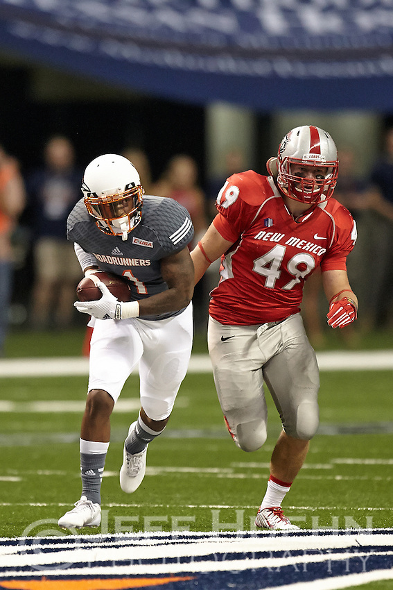 SAN ANTONIO, TX - OCTOBER 4, 2014: The University of New Mexico Lobos defeat the University of Texas at San Antonio Roadrunners 21-9 at the Alamodome. (Photo by Jeff Huehn)