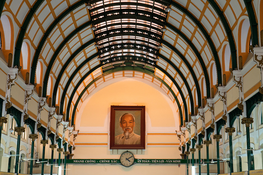 The Saigon Post office in central Saigon, Ho Chi Minh City, Vietnam