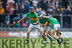 Jack Goulding Ballyduff in action against Brian McAuliffe Lixnaw in the Senior County Hurling Final in Austin Stack Park on Sunday