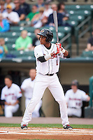 Rochester Red Wings shortstop Jorge Polanco (1) at bat during a game against the Buffalo Bisons on July 8, 2015 at Frontier Field in Rochester, New York.  Rochester defeated Buffalo 6-5.  (Mike Janes/Four Seam Images)