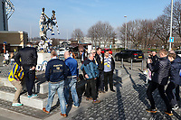 Fans pictured in front of the Billy Bremner statue outside of the Elland Road stadium<br /> <br /> Photographer Andrew Kearns/CameraSport<br /> <br /> The EFL Sky Bet Championship - Leeds United v Bolton Wanderers - Saturday 23rd February 2019 - Elland Road - Leeds<br /> <br /> World Copyright © 2019 CameraSport. All rights reserved. 43 Linden Ave. Countesthorpe. Leicester. England. LE8 5PG - Tel: +44 (0) 116 277 4147 - admin@camerasport.com - www.camerasport.com