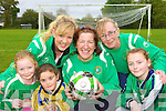Castleisland AFC members l-r: Jennifer O'Sullivan, Sheila Kerley and Mags O'Connor, with girls l-r: Aisling Nolan, Una Broderick and Labhaoise Walmsley, who have just started a Girls under 12 team and are looking for girls from Castleisland district to sign up for them on their open day in Castleisland soccer field on Saturday 24th October