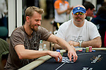 Michael Binger is all smiles after winning a big pot to vault him near the chip lead.