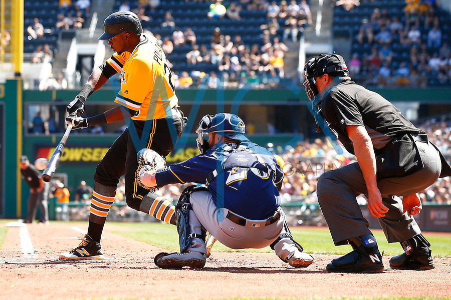 Gregory Polanco #25 of the Pittsburgh Pirates hits an RBI single in the third inning against the Milwaukee Brewers during the game at PNC Park in Pittsburgh, Pennsylvania on April 17, 2016. (Photo by Jared Wickerham / DKPS)