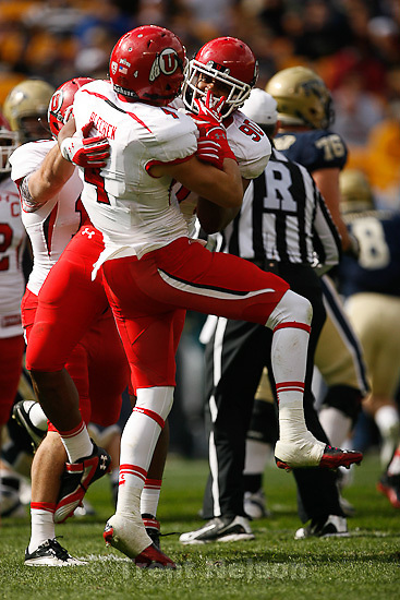 Trent Nelson  |  The Salt Lake Tribune.Brian Blechen, Derrick Shelby celebrate a sack, during the first half. Utah vs. Pitt, college football at Heinz Field Stadium in Pittsburgh, Pennsylvania, Saturday, October 15, 2011.