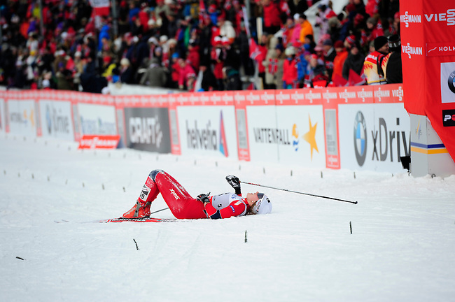 HOLMENKOLLEN, OSLO, NORWAY - March 17: Barbro Kvaale of Norway (NOR) after finishing the Ladies 30 km mass start race, free technique, at the FIS Cross Country World Cup on March 17, 2013 in Oslo, Norway. (Photo by Dirk Markgraf)