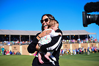 Elizabeth Chappell rushes to congratulate her husband Kevin Chappell (USA) for winning the 2017 Valero Texas Open, AT&amp;T Oaks Course, TPC San Antonio, San Antonio, Texas, USA. 4/23/2017.<br /> Picture: Golffile | Ken Murray<br /> <br /> <br /> All photo usage must carry mandatory copyright credit (&copy; Golffile | Ken Murray)