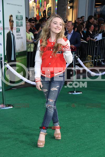 HOLLYWOOD, CA - MAY 6:  Sabrina Carpenter at the Premiere Of Disney's 'Million Dollar Arm'  on May 6, 2014 at El Capitan Theatre in Hollywood, California. Credit: SP1/Starlitepics /nortephoto.com