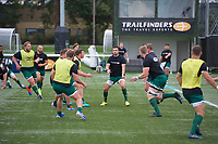 Players warming up ahead of the RFU Championship Cup match between Ealing Trailfinders and Ampthill RUFC at Castle Bar , West Ealing , England  on 28 September 2019. Photo by Alan  Stanford / PRiME Media Images