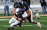 IC Defensive lineman Matt Purdom smothers the Casey Westfield QB in the waning moments of the 2008 State Championship victory.