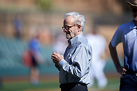 "Roland Hemond, the ""Architect of the Arizona Fall League"", prepares to throw out the first pitch before the Arizona Fall League Championship Game between the Salt River Rafters and Surprise Saguaros on October 26, 2019 at Salt River Fields at Talking Stick in Scottsdale, Arizona. The Rafters defeated the Saguaros 5-1. (Zachary Lucy/Four Seam Images)"