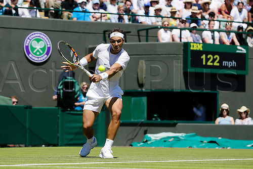 30.06.2015.  Wimbledon, England. The Wimbledon Tennis Championships.  Gentlemen's Singles first round match between tenth seed Rafael Nadal (ESP) & Thomas Bellucci (BRA).  Rafael Nadal in action