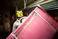 """Roma 29 aprile 2010.Festa e protesta -  Studenti e precari del gruppo attivo su Facebook """"Fai la valigia"""" hanno effettuato una festa con musica e spumante su un tram da Largo Preneste a Porta Maggiore, per protestare contro la scarsità' di corse e i lunghi tempi d'attesa di alcune linee di trasporto pubblico. Da Porta Maggiore la festa e' arrivata e finita nel quartiere di San Lorenzo .Rome 29 April 2010.Party and protest - Students and precarious the active group on Facebook """"Make suitcase"""" had carried out a party with music and champagne on a tram from Largo Preneste at Porta Maggiore to protest against the shortage' of runs and the long times of attended of some lines of transport public. From  Porta Maggiore the party and' arrived and ended in the district  San Lorenzo"""