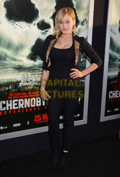 "Olivia Dudley.""Chernobyl Diaries"" Special Fan Screening held at the ArcLight Cinemas Cinerama Dome, Hollywood, California, USA..May 23rd, 2012.full length black top jeans denim hand on hip blazer gold lapels .CAP/ADM/BT.©Birdie Thompson/AdMedia/Capital Pictures. Pictures"