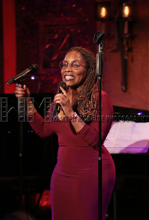 """Stephanie Mills on stage during a Song preview performance of the BeBe Winans Broadway Bound Musical """"Born For This"""" at Feinstein's 54 Below on November 5, 2018 in New York City."""