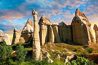 Love Valley at sunset, Cappadocia Turkey