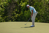 Scott Piercy (USA) sinks his putt on 9 during round 1 of the AT&T Byron Nelson, Trinity Forest Golf Club, at Dallas, Texas, USA. 5/17/2018.<br /> Picture: Golffile | Ken Murray<br /> <br /> <br /> All photo usage must carry mandatory copyright credit (© Golffile | Ken Murray)