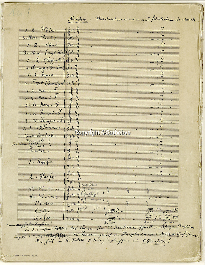 BNPS.co.uk (01202 558833)<br /> Pic: Sothebys/BNPS<br /> <br /> The historic score is edited in Mahlers own hand.<br /> <br /> A unique, handwritten musical score composed by classical giant Gustav Mahler has been given a record £3.5 million price tag. <br /> <br /> The 232 pages comprising the Austrian maestro's iconic Symphony No. 2, known as Resurrection, will become the most expensive musical manuscript ever if its estimate is met. <br /> <br /> Written between 1888 and 1894 and containing Mahler's alterations and corrections in the margins, the historic late-romantic piece has emerged after its owner Gilbert Kaplan, a Wall Street millionaire, died aged 74 in January this year. <br /> <br /> It is being auctioned on behalf of Kaplan's estate at Sotheby's, London, on November 29.