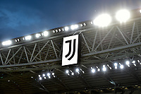 Juventus logo is seen on the screen prior to the Serie A football match between Juventus FC and AS Roma at Juventus stadium in Turin (Italy), August 1st, 2020. Play resumes behind closed doors following the outbreak of the coronavirus disease. Photo Andrea Staccioli / Insidefoto